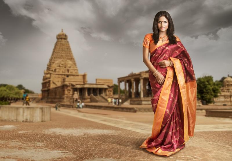 Sari Traditional Woman Indian Temple