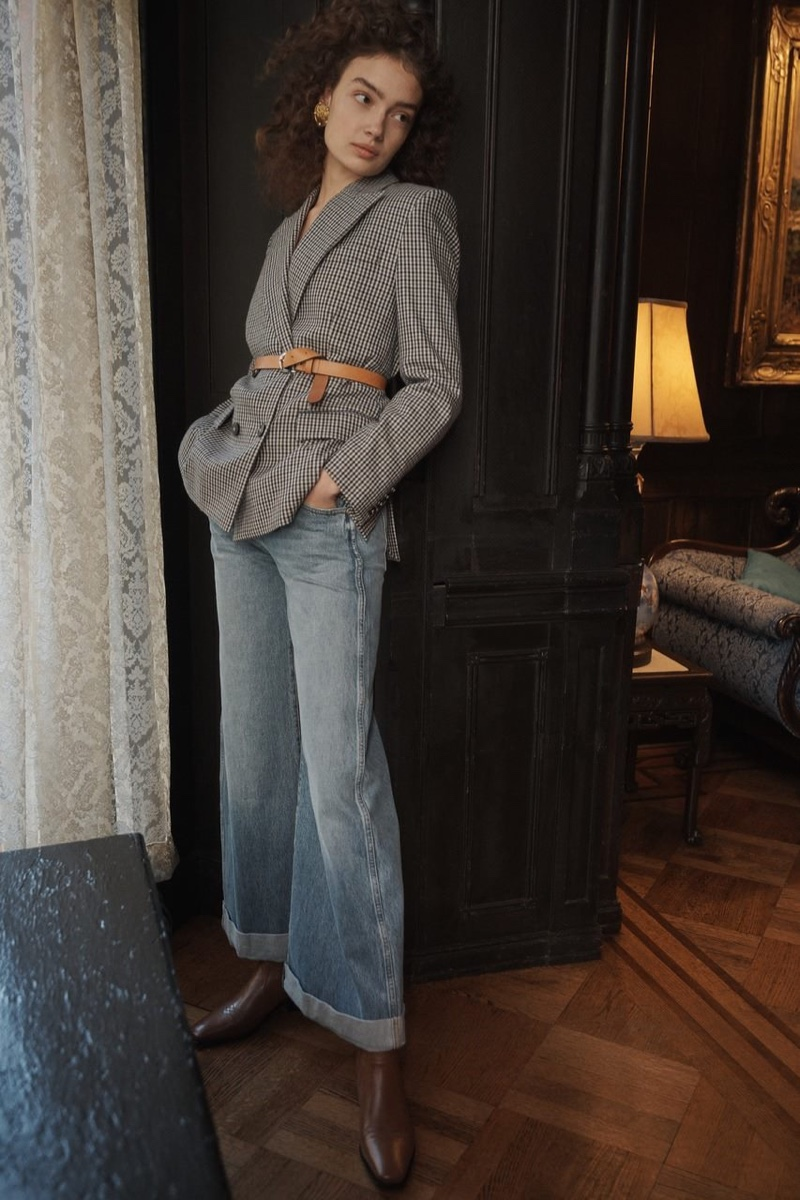 RE/DONE 70s Double Breasted Blazer $750, Khaite Noelle 5 Pocket Wide Leg Rolled Jeans $380 and Mari Giudicelli Hyde Boots $340