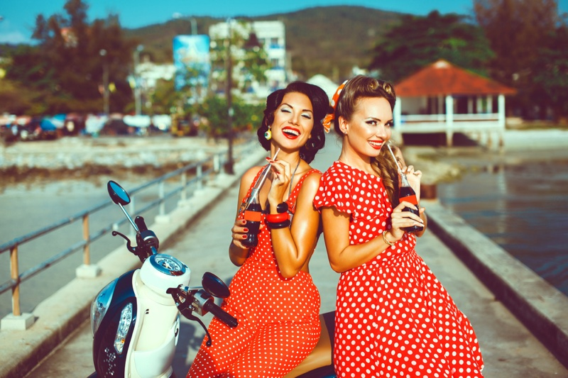 Smiling Models Retro Red Polka Dot Dresses Coke Bottles