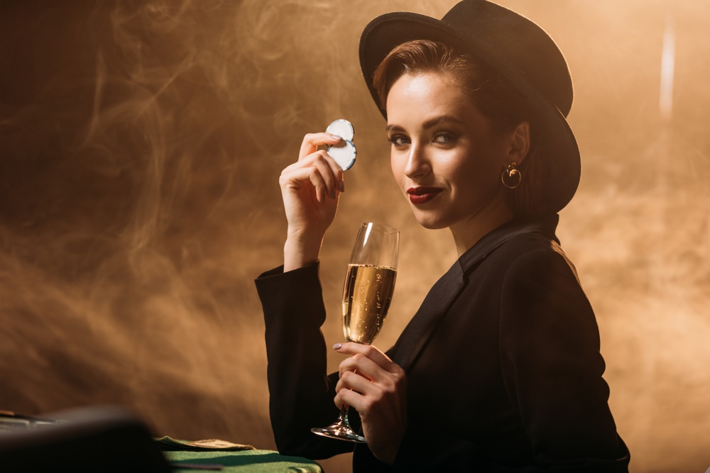 Smiling Woman Jacket Hat Gambling Champagne Glass Chips