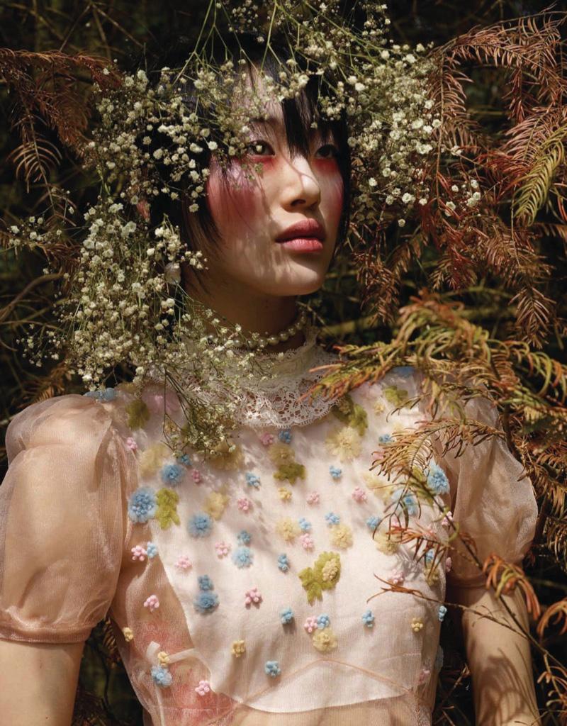 Sora Choi Models Romantic Designs for Vogue China