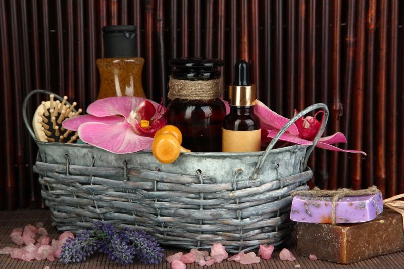 Spa Basket Oils Flowers Lifestyle