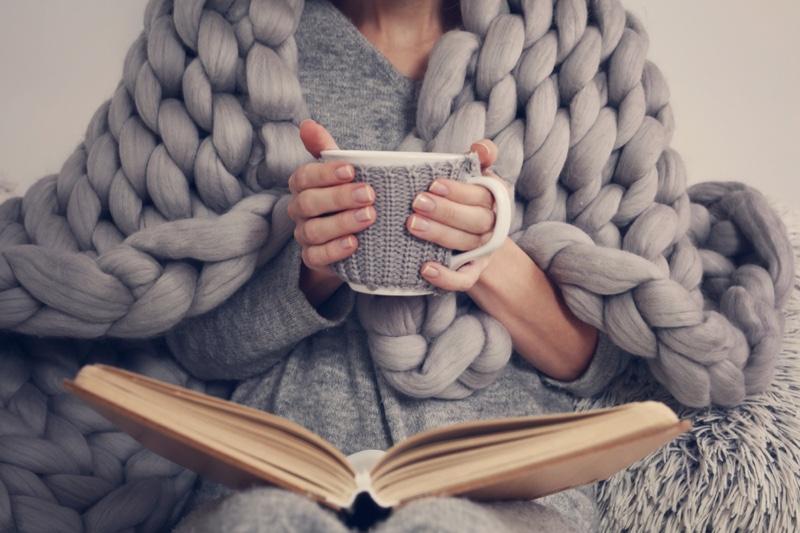 Grey Sweater Blanket Woman Relaxing Mug