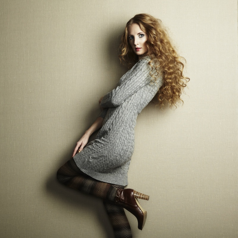 Sweater Dress Pants Boots Curly Haired Model
