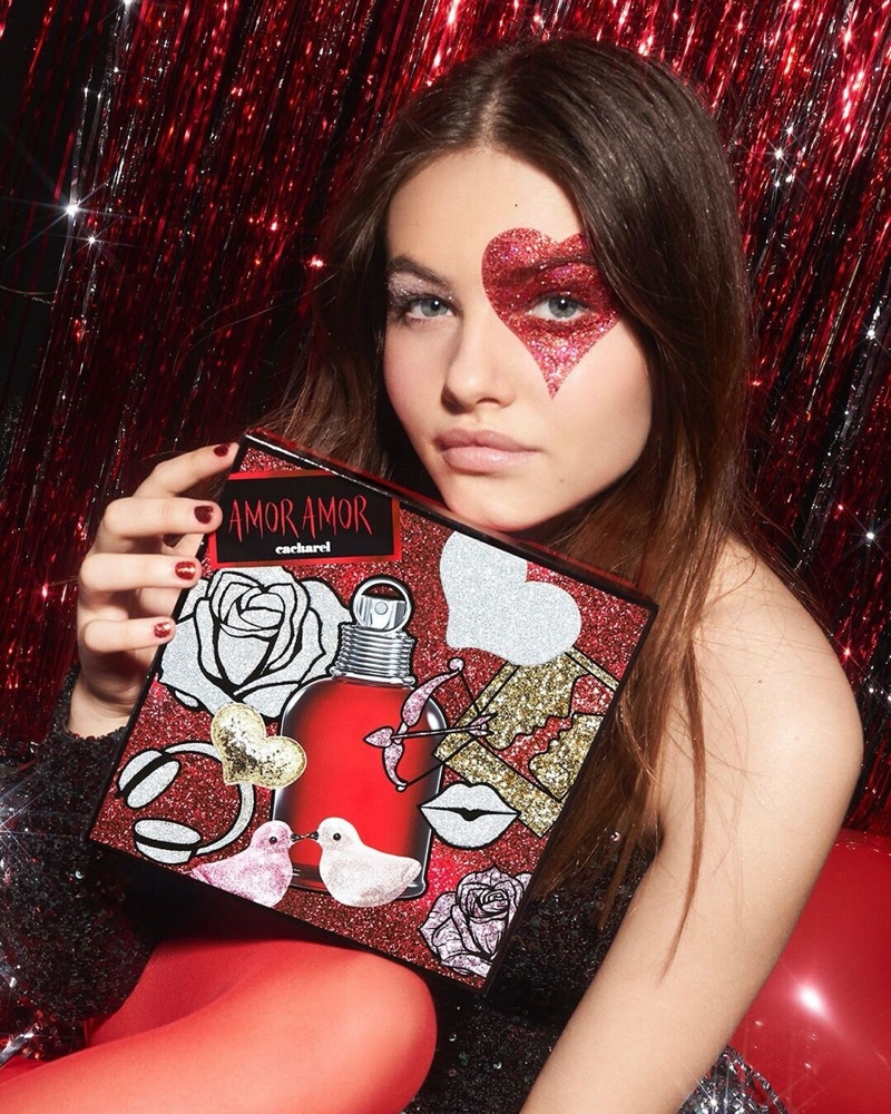 Model Thylane Blondeau fronts Cacharel Amor Amor Holiday 2019 perfume campaign