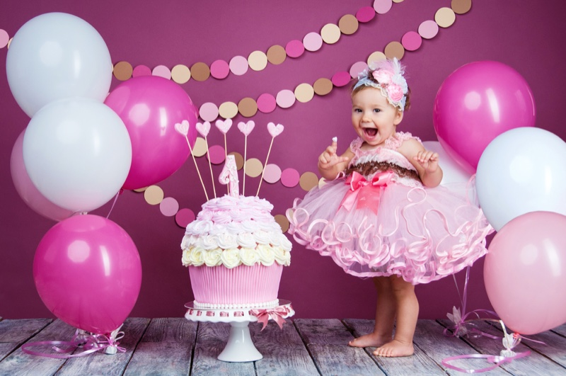 Toddler Party Pink Dress Cake Balloons Decorations