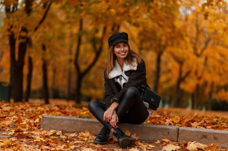 Woman Jacket Leather Pants Boots Cap