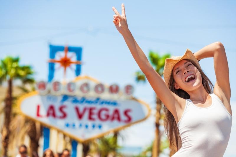 Woman Tank Top Smiling Las Vegas Sign