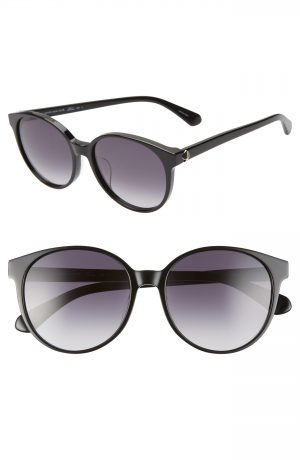 Women's Kate Spade New York Eliza 55Mm Polarized Round Sunglasses - Black/ Dkgrey Gradient