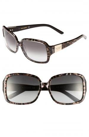 Women's Kate Spade New York 'Lulu' 55Mm Rectangular Sunglasses - Tortoise/ Gold