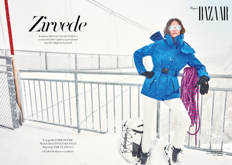 Photographed by Emre Dogru, Yasemin Ozilhan poses in the snow