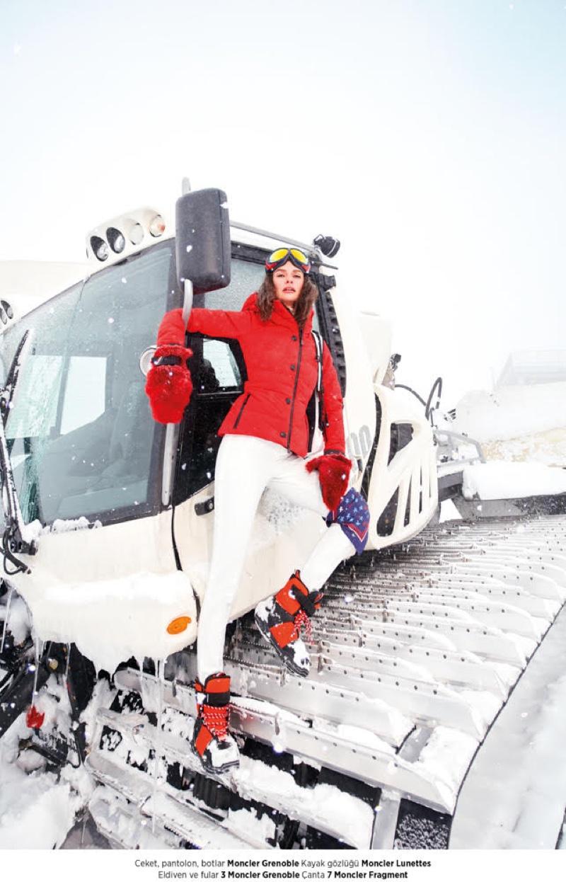 Yasemin Ozilhan poses in ski style for Harper's Bazaar Turkey