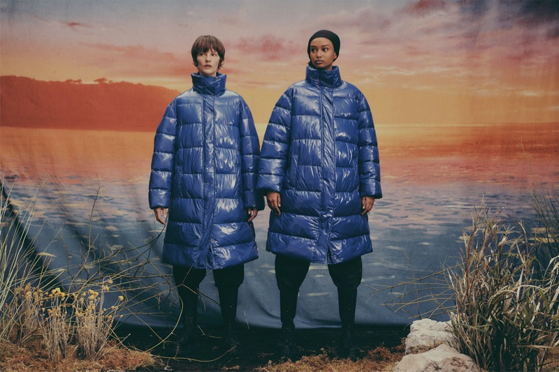 Sara Blomqvist and Ugbad Abdi pose in Zara Join Life Upcycled Winter 2019 collection