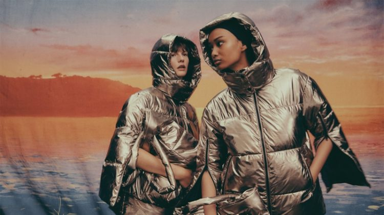 Metallic puffer jackets appear in Zara Join Life Upcycled winter 2019 collection