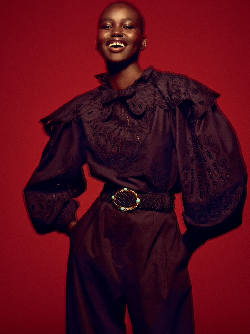 Flashing a smile, Adut Akech fronts Alberta Ferretti spring-summer 2020 campaign