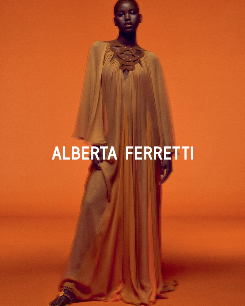 Model Adut Akech appears in Alberta Ferretti spring-summer 2020 campaign