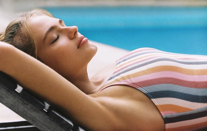Anna Mila Guyenz stars in Peony Swimwear Wallflower resort 2020 collection
