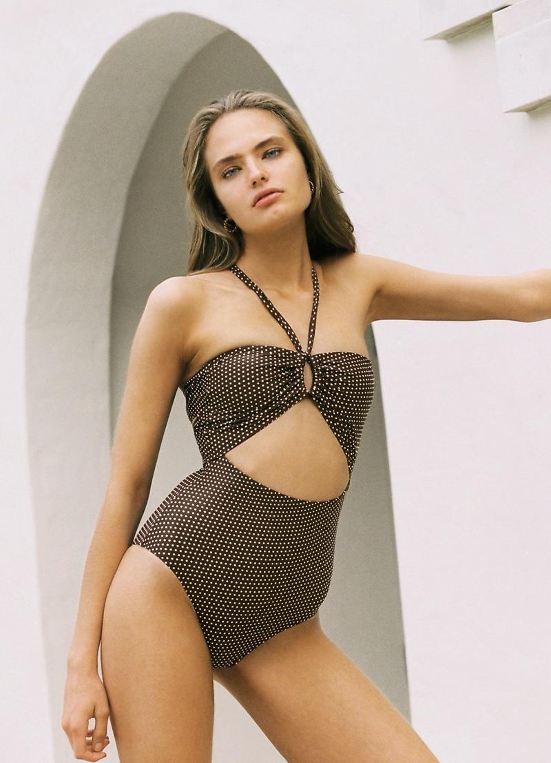 Anna Mila Guyenz wears Peony Swimwear September cut-out one piece