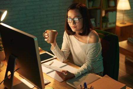 Asian Woman Working Night Computer Cup Glasses