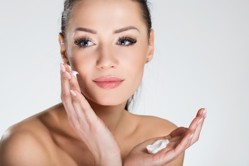 Attractive Woman Face Cream Eyelashes