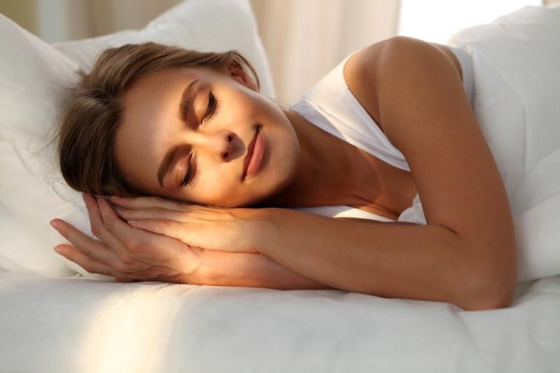 Attractive Woman Sleeping Sunlight
