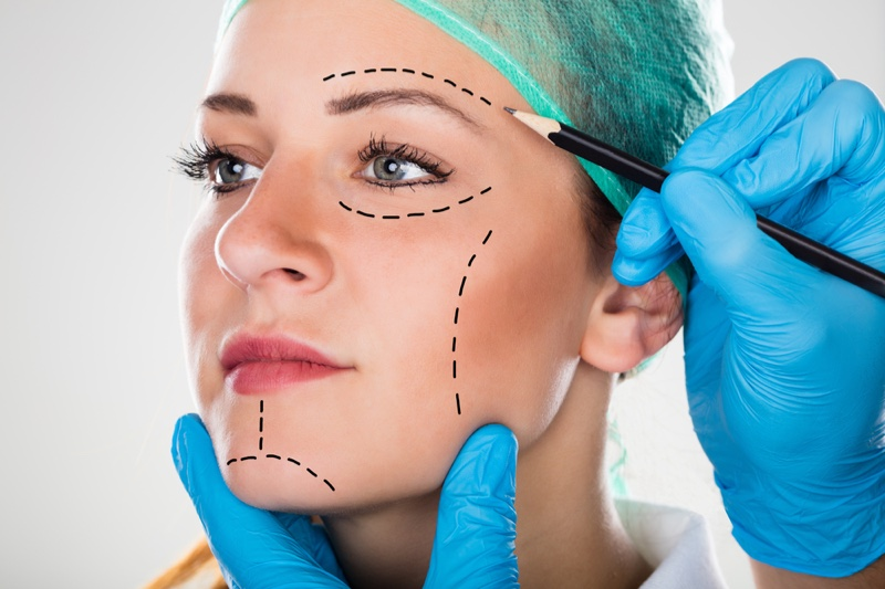 Beauty Woman Surgical Lines Face