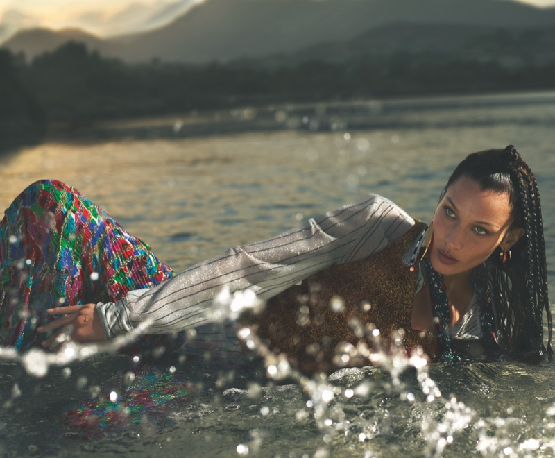 Model Bella Hadid poses in Sardinia, Italy, for Missoni spring-summer 2020 campaign
