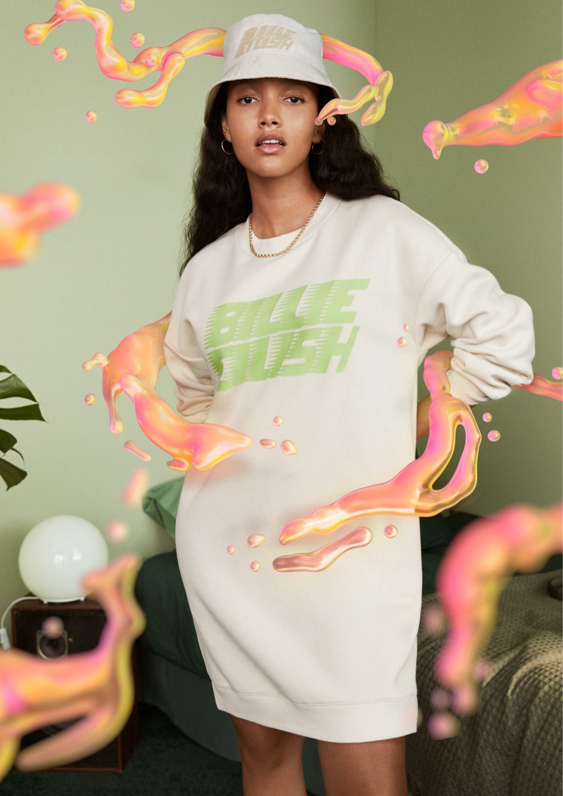 A look from Billie Eilish's merch collection with H&M