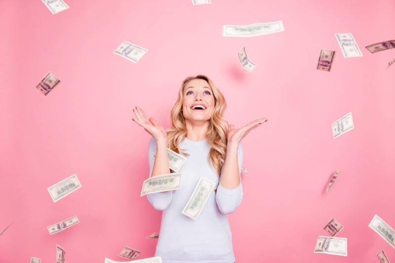Blonde Woman Long Sleeve Shirt Money
