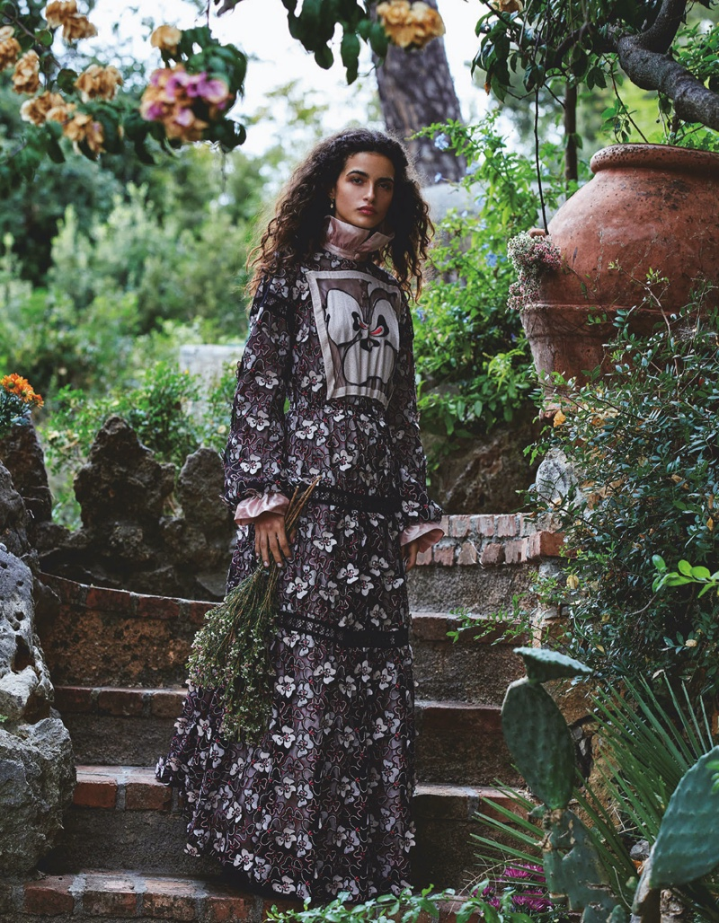 Chiara Scelsi Tries On Romantic Florals for Vogue Japan