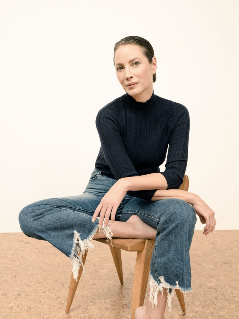 Striking a pose, Christy Turlington appears in J Brand spring 2020 campaign