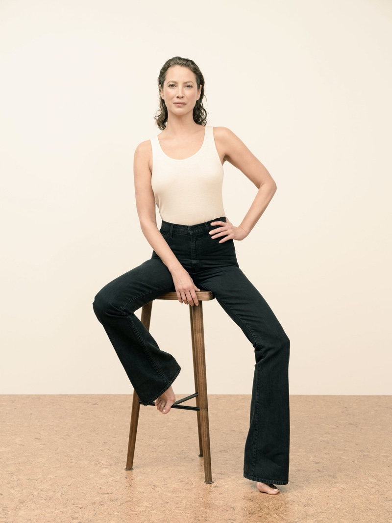 Supermodel Christy Turlington poses for J Brand spring 2020 campaign