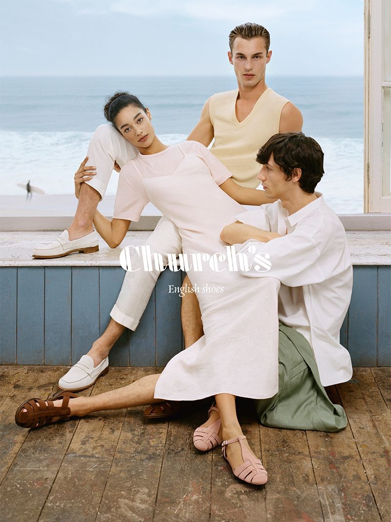 Damaris Goddrie, Kit Butler and Nicolas Ripoll appear in Church's spring-summer 2020 campaign