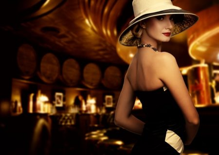 Classy Woman Casino Dress Hat Elegant