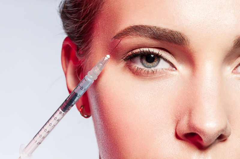 Closeup Model Botox Needle Beauty