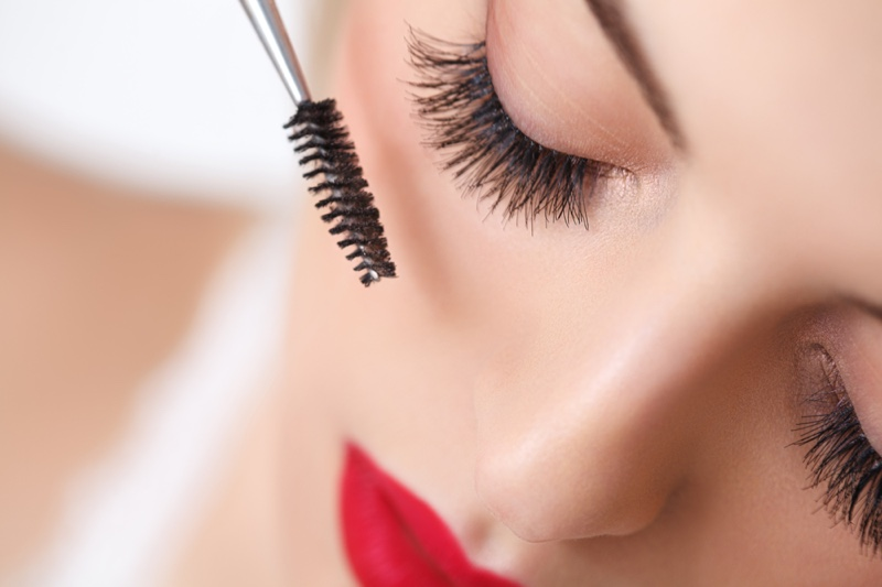 Closeup Woman Applying Mascara Wand Beauty