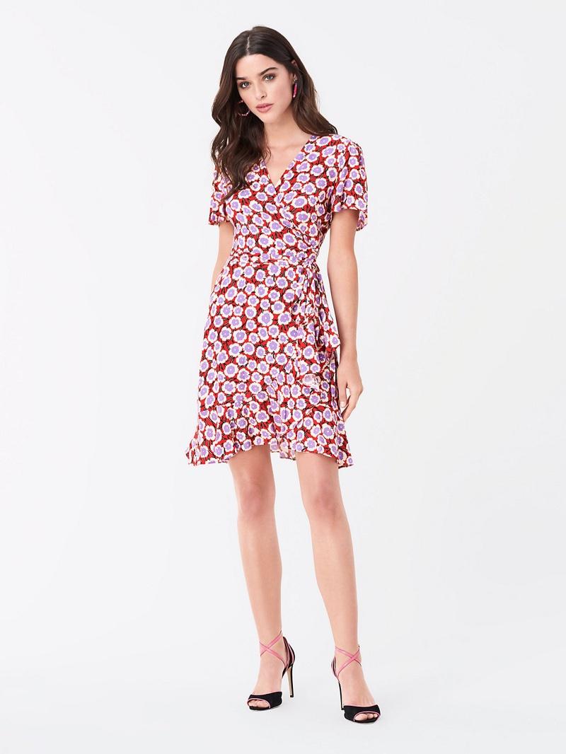 DVF Estrella Ruffled Crepe Mini Wrap Dress $298