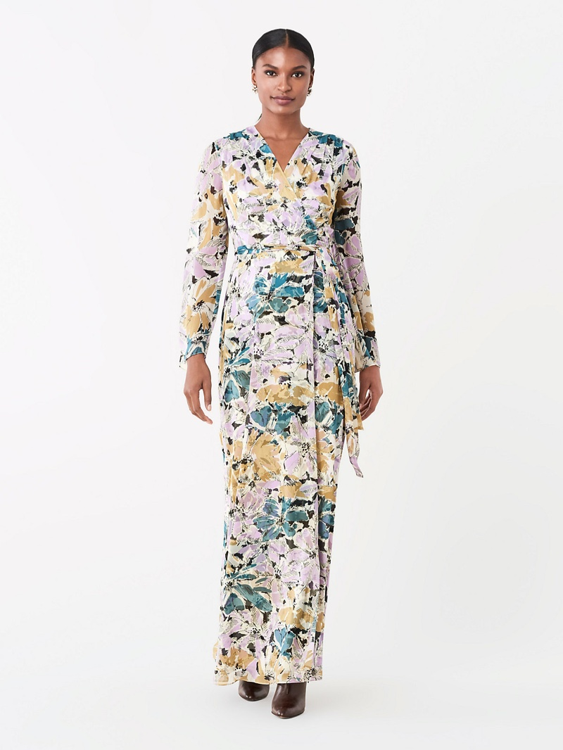 DVF Sharon Crinkle Chiffon Maxi Wrap Dress $648