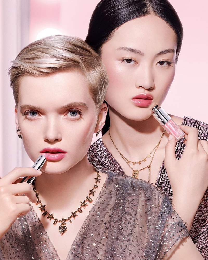 Ruth Bell and Jing Wen appear in Dior Lip Glow 2020 campaign
