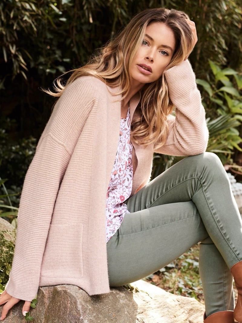 Wearing pastels, Doutzen Kroes poses in Repeat Cashmere spring-summer 2020 collection