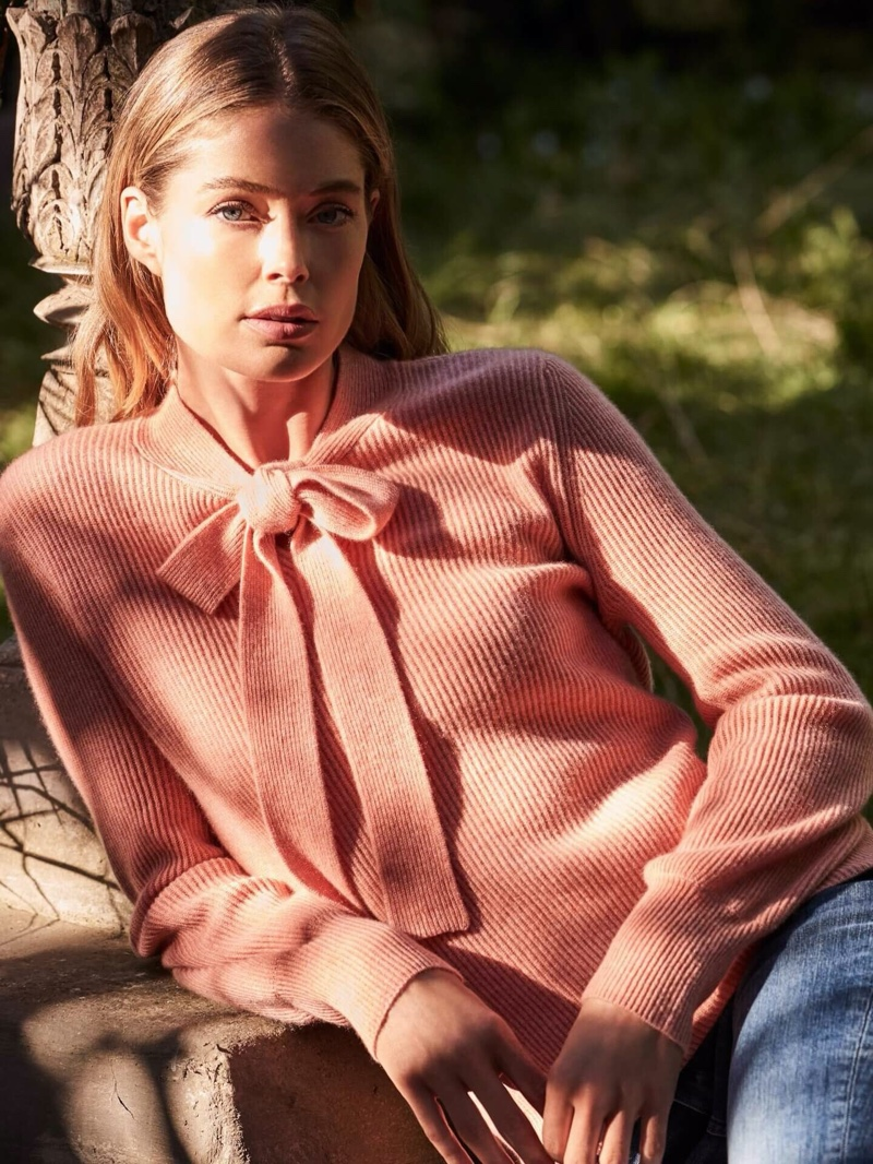 Looking pretty in pink, Doutzen Kroes fronts Repeat Cashmere spring-summer 2020 campaign