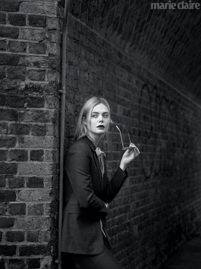 Captured in black and white, Elle Fanning poses for Marie Claire's February issue