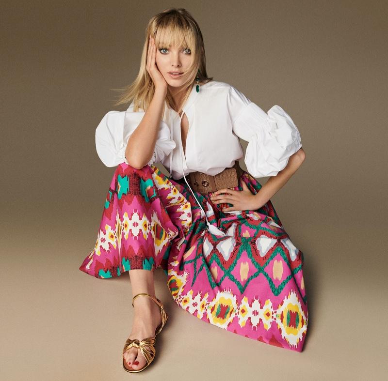 Wearing print, Elsa Hosk poses for Luisa Spagnoli spring-summer 2020 campaign