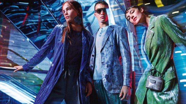 Nina Marker, Julian Schneyder and Anya Lyagoshina front Emporio Armani spring-summer 2020 campaign