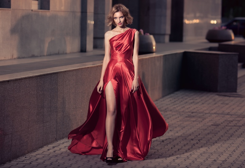 Fashion Model Red Gown Street