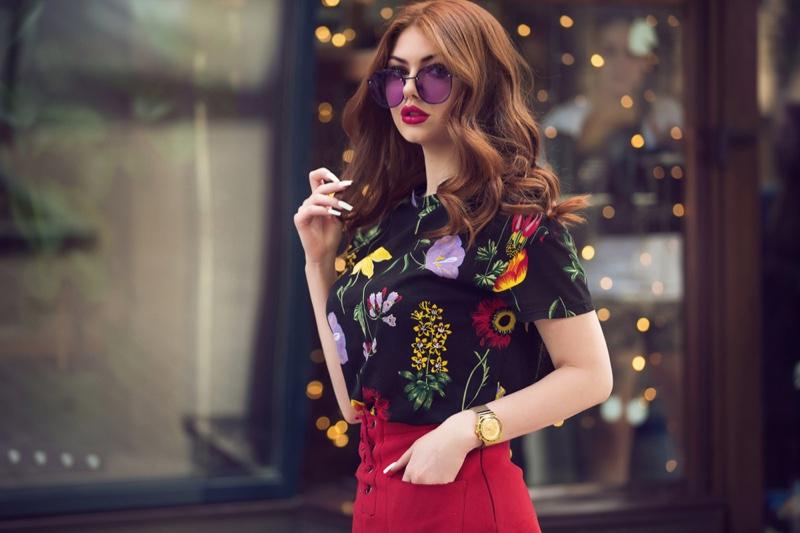Fashionable Girl Purple Sunglasses Floral Top