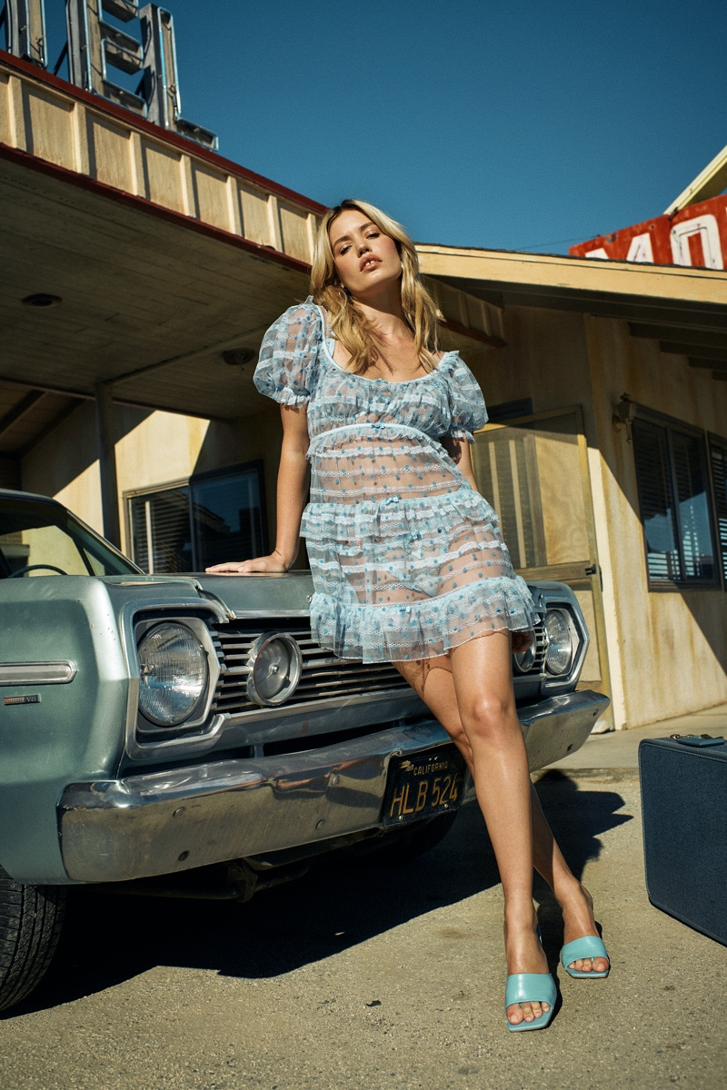 Model Georgia May Jagger appears in For Love & Lemons x Victoria's Secret spring 2020 campaign