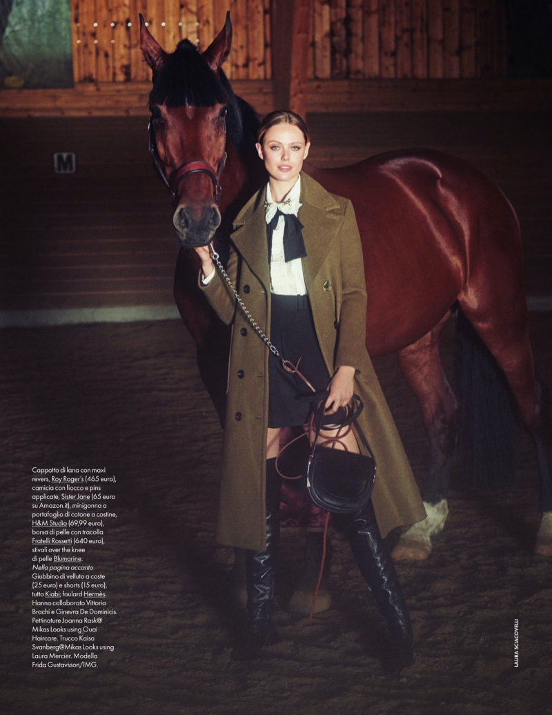 Frida Gustavsson Looks Equestrian Chic for ELLE Italy