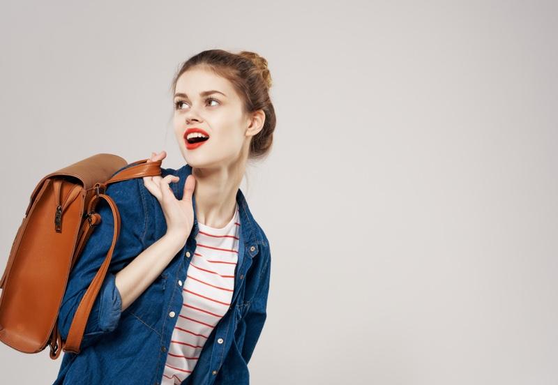 Girl Backpack Denim Jacket Striped Shirt