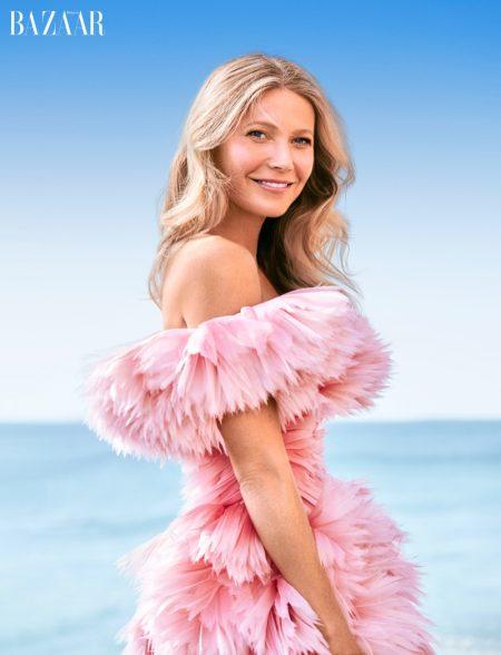 Looking pretty in pink, Gwyneth Paltrow wears Alexander McQueen gown